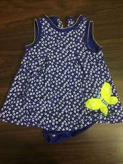 Carters Blue Flowers Dress Onesies
