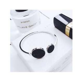 🚚 黑色大理石銀手環