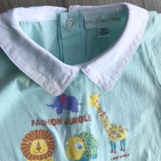 愛的世界-連身衣(6M/70碼)嬰兒包屁衣 爬服 兔裝,非背心 T恤 洋裝 刷毛