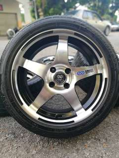 Enkei 5-star 16 inch sports rim vios tyre 70%. Barang bintang lima, harga kaki lima!!!
