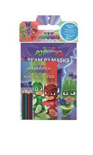 Pj mask coloring book with colour pencils