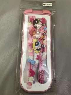 飛天小女警餐具筷子匙羹連餐具盒