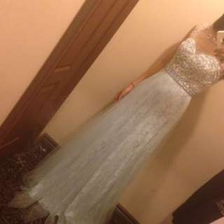 Ice Blue Jeweled Long Dress