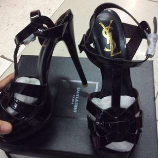 YSL Tribute Sandals Size 7/ 38 Black Patent