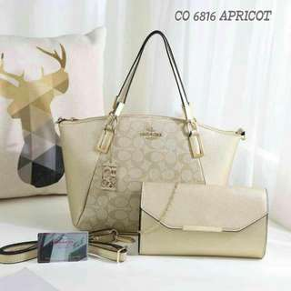Coach Satcel Tote Bag 2 in 1 Apricot Color