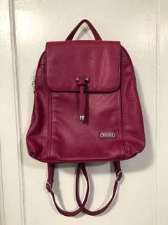 Fuschia genuine leather backpack