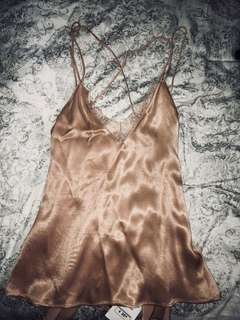 BNWT Backless Lace Silk Top