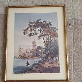 1838年广州风景挂画(43✘35)cm