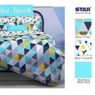 Bed cover katun star Trivia biru
