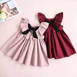 Ruffles sleeve with big bow dress