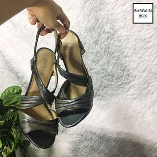 GUESS Strappy Silver/Gunmetal Sandals (Heels)