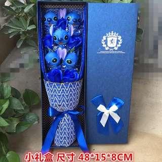 5 Blue Stitches Bouquet + 5 Blue Soap Roses + 1 Gift Box