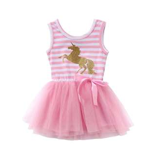 Unicorn Pink Striped Tulle Dress for 6 Months to 5 Years