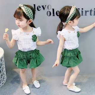 Female baby suit short-sleeved two-piece