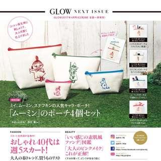 日本雜誌 GLOW 附贈 MOOMIN 慕敏家族 收納包 4件組 收納袋 小物包 化妝包 嚕嚕米 姆明