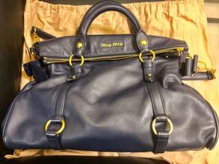 Like New authentic Miu Miu navy leather with gold hardware Bow Bag