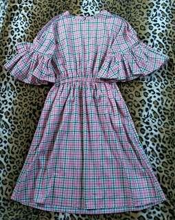 H&M Cold Shoulder Checkered Dress