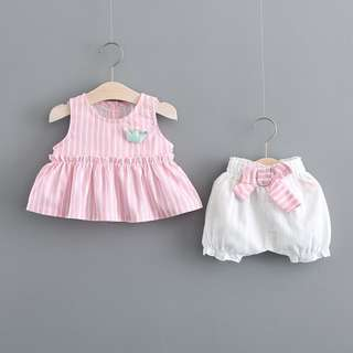 Two piece pinstripes set baby girl