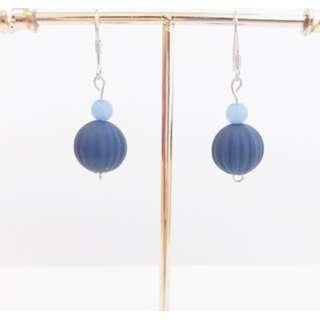 寶藍粉藍珠子耳環 日本風格 生日禮物 姐妹禮物 Pastel Blue Navy Dangle Earrings Japanese Style Birthday Gifts