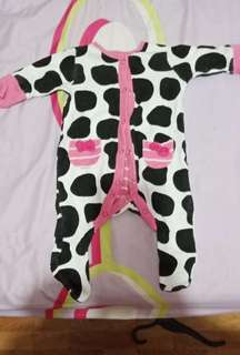 Mothercare Pink cow long sleeves onesies