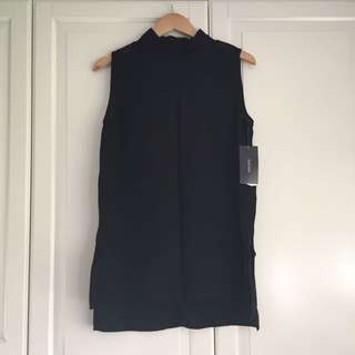 Zara Black Sleeveless Mock Neck Top