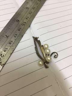 古董 珍珠 銀 胸口針 不議價