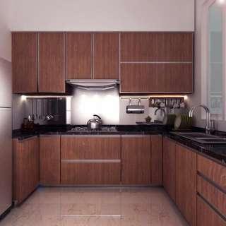 Kitchen set corak kayu coklat tua hpl
