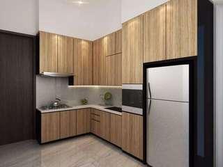 Kitchen set corak kayu cokelat muda hpl