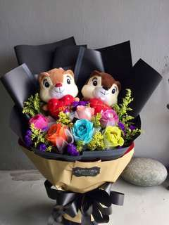 COLORFUL SOAP FLOWERS + SQUIRREL PLUSH TOY