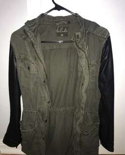 Aritzia Army Jacket with Leather Sleeves