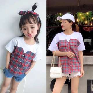 Mom and Girl Twinning Checkered Shirt Patchwork with White Tee