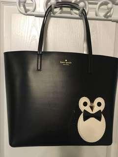 New Kate Spade Penguin Black Clifton Lane Little Len Tote Bag Leather Handbag