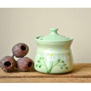 Handmade Pastel Green Stoneware Sugar Bowl