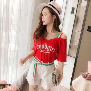 🚚 (特價)韓版女裝休閒運動兩件式套裝露肩吊帶上衣闊腿短褲