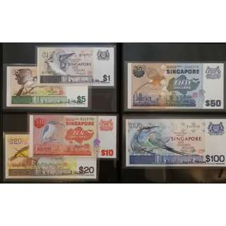 Singapore Bird Series Dollar Notes Set, $100, $50, $20, $10, $5, $1