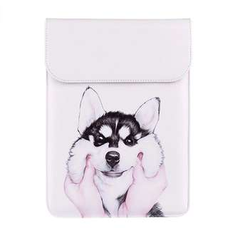 BN Preorder White and Grey Husky PU Leather MacBook Air / MacBook Pro Sleeve