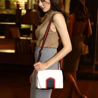 韓版簡約寬帶白色簡約撞色運動休閒時尚包包小方包