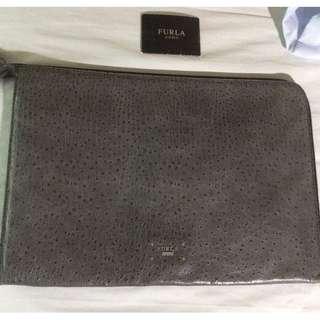 MINT CONDITION Furla Uomo UNISEX Men's Leather Document Case Portfolio Clutch GRAY OSTRICH