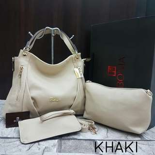 Bonia 2 in 1 Hobo Bag Beige Color