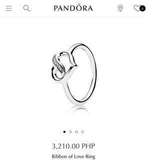 Brand New Auth Pandora Ribbon of Love Ring