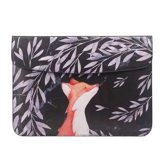BN Preorder Orange Fox, Pink Leaves PU Leather MacBook Air / MacBook Pro Sleeve