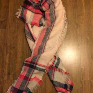 Plaid Warm Blanket Scarf