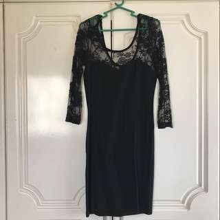 H&M Body Con Dress with Lace sleeves
