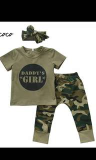 2pcs baby clothes Newborn Toddler Army green Baby Boy Girl letter T-shirt Tops Camouflage