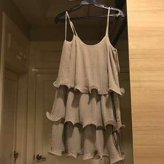 H&M Grey Ruffled 3-tier Dress