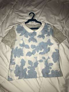 Gingersnaps 8y Preppy Lace Floral Blue Top