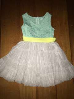 Gingersnaps 6y Mint Green & Gray Tulle Tutu Dress