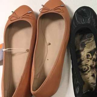 Brand New Tags On Zara Beige Leather Flats
