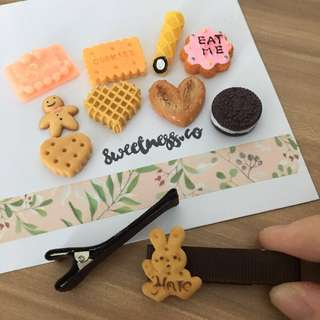 Customisable hair clips - biscuits & cookies