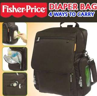 Price reduced- Authentic Fisher Price convertible diaper bag